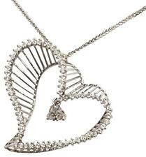 "68 DIAMOND LARGE HEART PENDANT ON A 16"" 14 KT WHITE GOLD CHAIN NECKLACE"