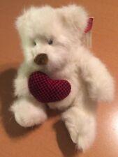 "Russ White Bear with heart Named Bear Hugs 6"""