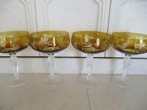 4 x Sektschalen Sektgläser Gläser Bleikristall Überfang Schleuderstern Kristall