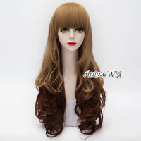 Mixed Brown Long 75CM Curly Anime Cosplay Party Heat Resistant Full Lolita Wig