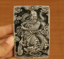 tibet silver guan gong dragon statue netsuke pendant necklace
