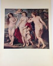 "1955 Vintage Full Color Art Plate ""JUDGMENT OF PARIS"" by RUBENS Lithograph NUDE"