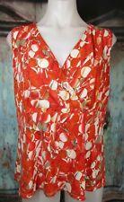 Kasper 12 Orange Floral Surplice Shell Top Mesh Lined Sleeveless Stretch Knit