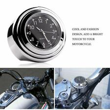 """COOL Montaggio Per Manubrio Moto orologio al quarzo Impermeabile 7/8"""" 1"""" Chrome Orologio"""