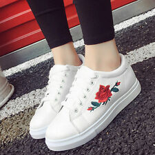 Women Ladies Lace Up Running Sneakers Embroidery Flower Trainers Shoes Size 39