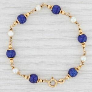 "Vintage White Pearl Blue Enamel Bead Bracelet 18k Yellow Gold 7"" Chain"