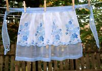 VTG 50's Blue Vines & Leaves Fancy Illusion Half Hostess Apron Costume Theater