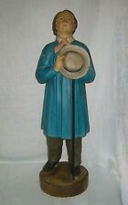 ANTIQUE c1900 LARGE POLYCHROME TERRA COTTA SHEPHERD BOY FIGURE FIGURINE STATUE