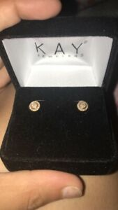 kays jewelers stud earrings only wore once diamond gold studs