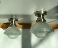 antique brass celing light fixture vtg 40 or 50 3 shade. Black Bedroom Furniture Sets. Home Design Ideas