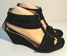 Made In Italy Size AU 9 / EUR 40 Women's Leather Suede Open Toes Wedgy Sandals