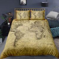 3D Nostalgic World Map Bedding Set Duvet Cover Comforter Cover PillowCase