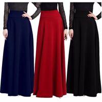 Women Ladies High Waist Long Maxi Skirts Gypsy Plain Pleated Dresses Plus Size