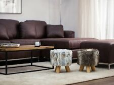 NEW WOODEN ROUND STOOL POUFFE SHAGGY FUR FOOT OTTOMAN MODERN PADDED SHABBY CHIC