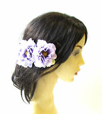 2 x Lilac Purple Peony Flower Hair Pins Vintage Rockabilly Clip 1950s Rose 1480