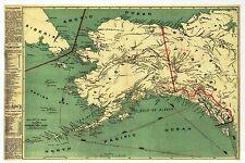 Alaska State Map, Siberia Russia, Canada, Anchorage Juneau etc - Modern Postcard