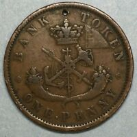 1852 Bank Of Upper Canada One Penny One Cent Copper Token #SS774