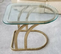 VINTAGE 1970'S LEON ROSEN for PACE GILDED LUNA GLASS TOP OCCASIONAL SIDE TABLE