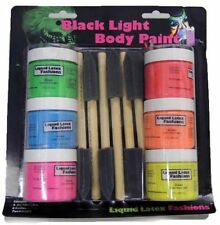 Liquid Latex Blacklight Kit Glow 6 Brushes Body Paint Halloween Cosplay Theater