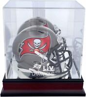 Tampa Bay Buccaneers Super Bowl LV Champs Mahogany Mini Helmet Logo Display Case