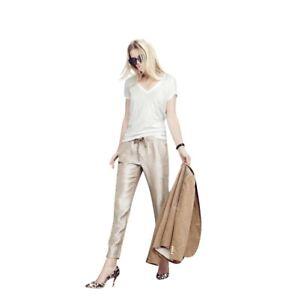 J.CREW Women's Metallic Washed Lamé Pull-on Pants Elastic Drawstring Gold Sz.6