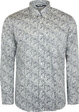 Relco Mens White Navy Paisley Long Sleeved Button Down Vintage Shirt Mod 60's