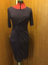 Connected Royal Purple, 3/4 Sleeve, Gathered Front Sheath Dress, 4P