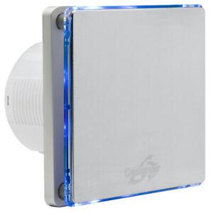 Designair BF10SS Stainless Steel Extraction Bathroom Fan 100m Blue LED Lighting