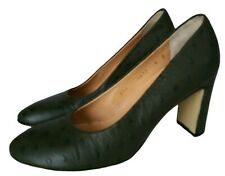 Walter Steiger Women's Shoes 5 Block Heel Green Leather Ostrich Pumps Italy