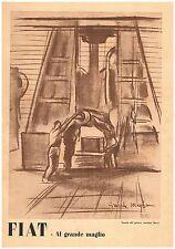 PUBBLICITA'1942 FIAT AUTO INDUSTRIA AUTARCHIA GRANDE MAGLIO TAVOLA ANSELMO BUCCI