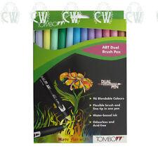 Tombow Brush Pen 12 Colour PASTEL SET. Double Ended Artist & Craft Marker Pens