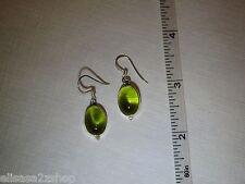 Sterling Silver dangle earrings Green Quartz stone hook SS beautiful