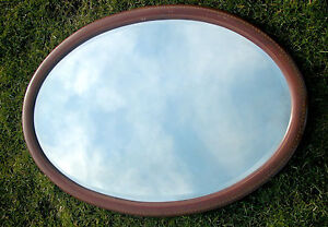 ANTIQUE 19TH-20TH C. INLAID OVAL BEVELED MIRROR excellent original condition