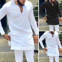Fashion African Dashiki Men's White Shirt V Neck Hippy Tops Blouse Clothes Shirt