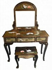 Oriental Chinese Gold Leaf Dressing Table Set with Painted Cranes