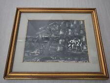 Bizzarri L. QUADRO VILLAGGIO NOTTURNO CASE SPATOLA OLIO SU TELA 1976 57X47 cm