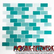 Glasmosaik mix hellgrün/grün Transluzent klar Brick 25x50x4 Art:66-0602_f | 1qm
