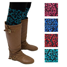 Lace Winter Boot Cuffs with Glitter Stretch Flower Lace Hosiery Stocking Stuffer