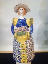 Vintage Majolica Senora Figurine By C. Carriero Grottaglie Made In Italy Rare