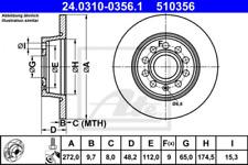 2x Bremsscheibe für Bremsanlage Hinterachse ATE 24.0310-0356.1