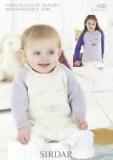 Sirdar 4587 Knitting Pattern Baby Childrens Sweaters in Snuggly Baby Bamboo DK