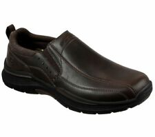 Skechers Brown Shoes Men Memory Foam Loafer Casual Comfort Leather Slip On 66304