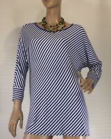JUMP SIZE XL (16) BLUE & WHITE STRIPED TOP AS NEW