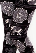 Elephant Leggings Black White Tribal Ethnic Print Buttery Soft ONE SIZE OS 2~12