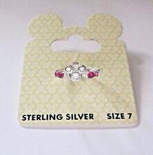 Nuevo Disney World Minnie Mouse Rosa De Cristal Anillo de plata esterlina 925 US 7-UK o