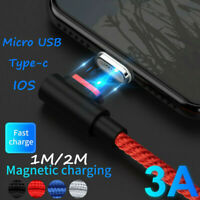 Magnetic 3A Type-C Micro USB IOS Charging Charge Cable For Samsung Apple iPhone