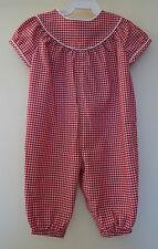 New In Bag Kelly's Kids Red/White Carolina Gingham Tibi Romper ~ Girl's Sz 3M