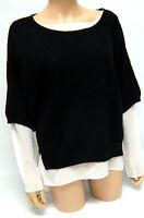 Grace Ladies Knitwear Black Jumper, Mock Double Layer White Blouse S M L XL BNWT
