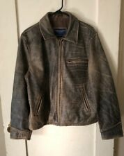 Mens American Eagle Outfitters Leather Jacket Sz M Rustic Brown