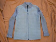 For Cynthia Blue Quilted Sweater Jacket - M